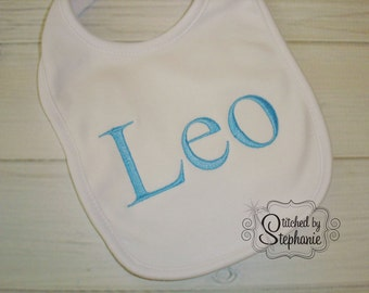 Custom embroidered personalized monogrammed blue name boy baby bib