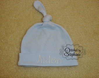 Custom personalized monogrammed personalized name white on blue newborn baby boy hat with knot