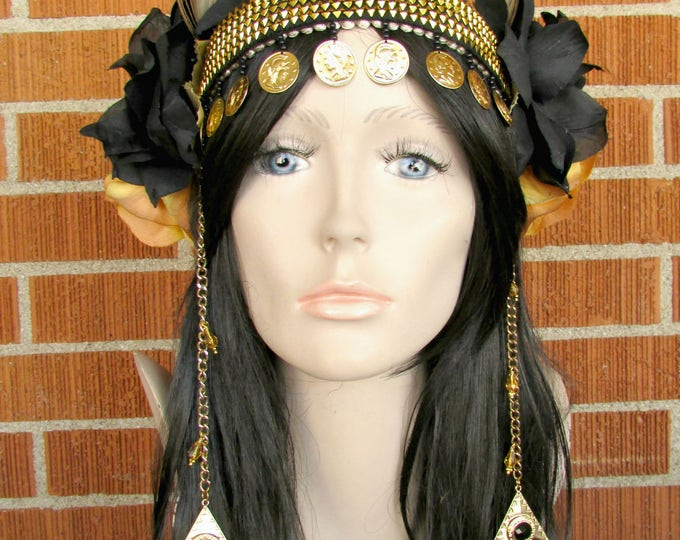 Coin Headdress, Flower Headband, Feather Headdress, Flower Crown, Rose Headband, Belly Dance Costume, Festival, Burning Man, Black & Gold