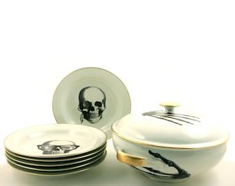 Soup Serving Set for 6 Vintage Big Tureen Plates Altered  Porcelain Skeleton Hands Glasses Mustache Beard Halloween Bowl Lid Porcelain Skull