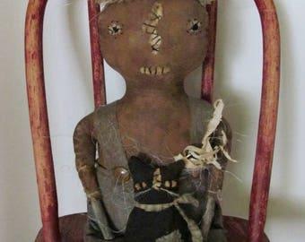 Primitive Folk Art Farmhouse Style Fall Pumpkin Doll with Reproduction Style Black Sock Cat Sweetpeas Primitives