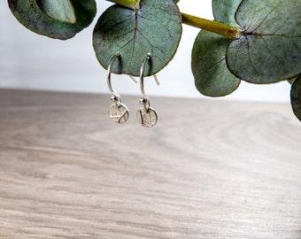 Tiny Silver Earrings - Round Drop Earrings - Silver Disc Earrings - Delicate Jewellery - Silver Dangle Earrings - Nature Earrings