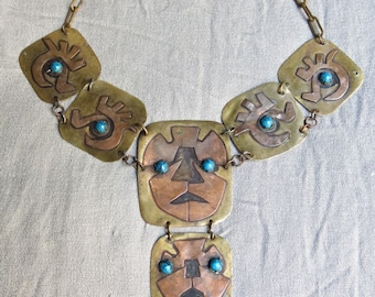 50s Copper, Brass and Turquoise Statement Necklace