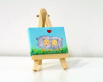 Mini acrylic painting canvas Mini canvas gift - sheep painting - mini painting - original painting - mini art - small painting original art