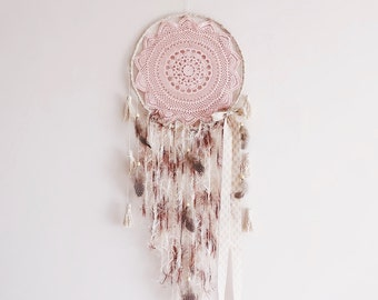 Dream catcher, large dreamcatcher, handmade, wall hanging, wall decor, crochet doily, boho, bohemian, rose, pink, pastel, cream, gift ideas