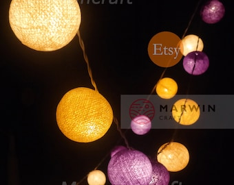 Battery Powered LED 20 Big Cotton Balls Sugar Lavender Tone Fairy String Lights Party Patio Wedding Floor Table Hanging Gift Home Decor