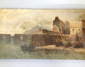 RESERVED please do not buy Antique oil painting Harbour scene Rowing boats Fishing boats Seascape Mountain R