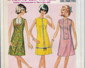 """Vintage 1966 Simplicity 6879 Teens Mod One-Piece Dress Simple To Sew Sewing Pattern Size 12T Bust 32"""""""