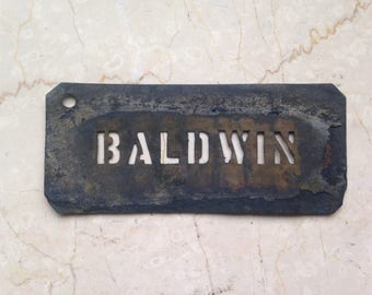 Antique Brass Stencil, Baldwin Pears, Baldwin Apples, Antique Crate Stecil, Fruit Crate Stencil, Industrial Stencil, Advertising Stencil