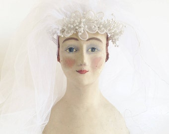 Vintage White Bridal Veil with Lace, Tulle, and Pearls