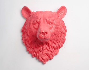 OVERSTOCK SALE - The Camille Coral Resin Bear Wall Sculpture