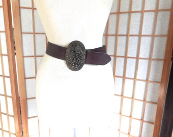 Vintage 80s Bergamot Brass Buckle in 3D Nymph Design with Leather Belt