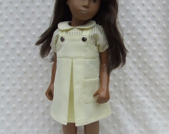 "Corduroy Pinafore and Gingham Blouse outfit for 16/17"" Sasha doll - Pastel shades"