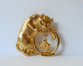 Vintage Kitty Cat Fishbowl Brooch Pin GoldTone Unsigned