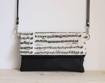 Music bag, music handbag, music crossbody bag, music foldover bag, music shoulder bag, music clutch - Long Live Music