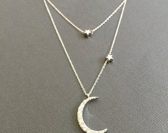 925 Silver crescent Moon and star necklace, Half Moon Necklace, Double Layer Necklace, I love you to the moon and back, Layering necklace