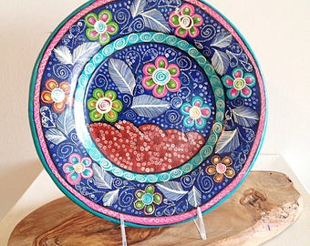 Vintage Mexican Pottery Plate Handpainted Talavera Folk Art