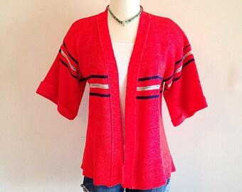 Vintage Red Space Dye Cardigan Kimono Sweater 1970s