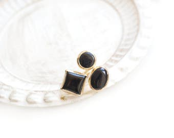 Triple Adjustable Black Onyx Stone Gold Plated Ring