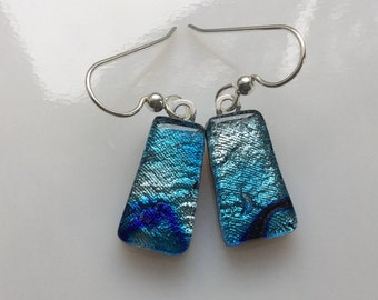 Dichroic Glass Earrings, Fused Glass Jewelry, Silver Blue Dichroic French Hook Earrings