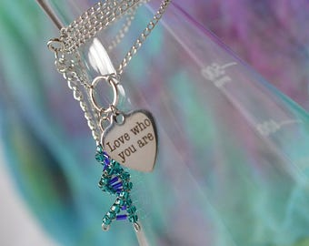 Biolojewelry - DNA Double Helix Love Who You Are Necklace