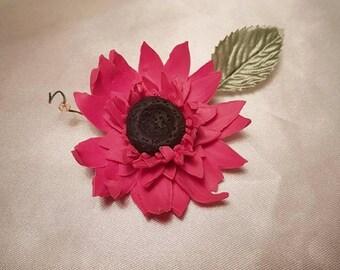 Pink Gerbera Brooch with Swarovski Crystal Bead | Polymer Clay