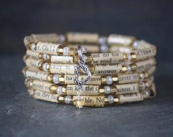Jane Austen, Pride and Prejudice, Sense and Sensibility, Jane Austen gift, Jane Austen jewelry, Jane Austen bracelet, book page jewelry