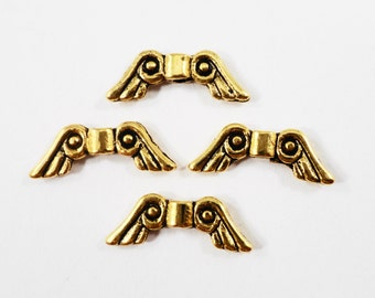 Gold Wing Beads 15x7mm Antique Gold Wing Beads, Angel Wing Beads, Wing Spacer Beads, Beading Supplies, Metal Spacer Beads, 20 Loose Beads
