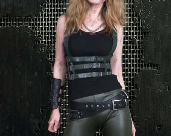Commando woman black leather harness in military style