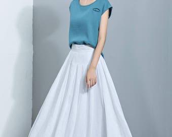 White Linen Skirt,Flare Skirt,Pleated Skirt,Long Skirt,Summer Skirt,Comfortable Skirt,Women's Skirt  C1145