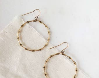 Delicate Lightweight Hoop Earrings - Minimalist Bohemian Drop Dangle Fish Hook Back - 24k Gold Plated & 14k Gold Filled Tiny Beads
