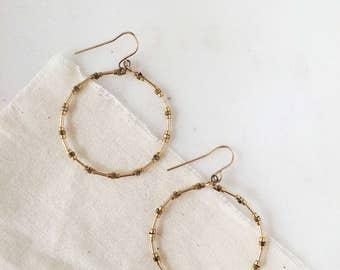 Delicate Lightweight Hoop Earrings - Minimalist Bohemian Drop Dangle Fish Hook Back - 24k Gold Plated & 14k Gold Filled Tiny Beads