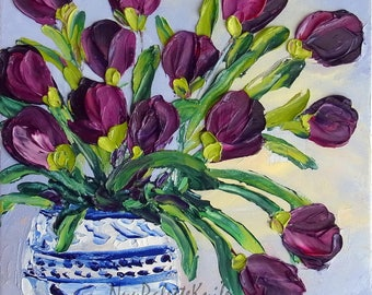 Purple Tulip Oil Painting Impasto Original Art Flower Floral Small Canvas Palette Knife Textured Ready to Hang 8x8