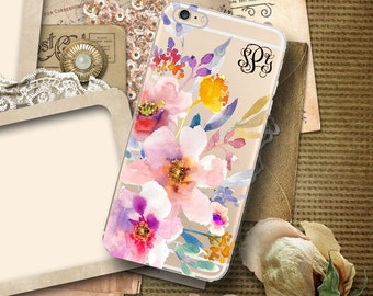 Personalised clear Iphone 6 case with design, Floral Iphone 6s Plus case, Transparent Iphone SE case, Monogram Gift for grandmother (1644)