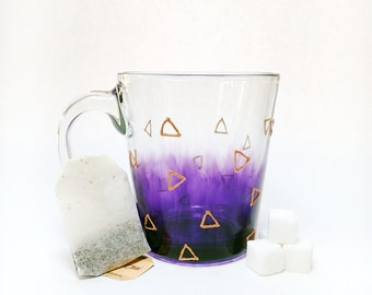 Hand Painted Glass Mug - Triangular - Gold Colored Triangles Over a Translucent Purple Background on a Clear Glass Mug