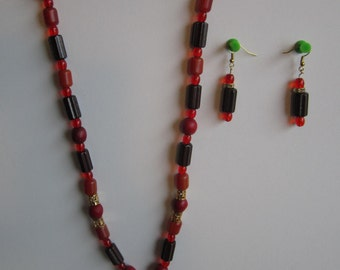 Red and gold necklace and earring set by 'Patsy'