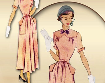 Late 1940s Dress Pattern Turn Over Collar Angled Cuff Details * Topstitching on Flared Skirt Pockets Mid Calf Length Bust 33 McCall 7730
