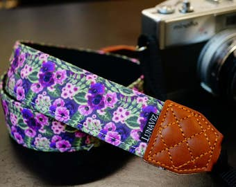 Personalize Camera Strap - Purple Garden for DSLR and Mirrorless