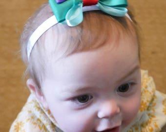 Purple and Green Bow Headband