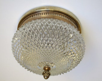 Elegant French Mid Century Ceiling Light Fixture-Diamond Cut Glass with Pine Cone Finial- Perfect for Low Ceilings -French Glamour