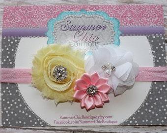 Easter Headband, Baby Headband, Pink and Yellow Headband, Infant Headband, Newborn Headband, Light Pink, Light Yellow, and White Headband