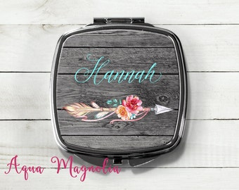 Floral Tribal Arrow - Compact Mirror - Personalized - Rustic - Dark Weathered Wood - Purse Mirror - Monogrammed - Travel Mirror