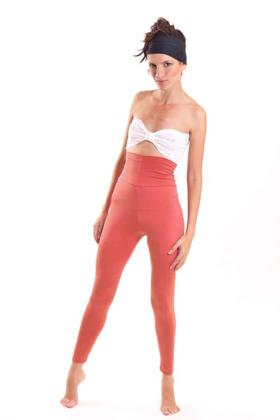 Coral Leggings High Waist Cut Poly Lycra Yoga Pants Running Gear Gym Fashion Orange Legging Women's