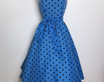 Vintage 80s does 50s Blue Polka Dot Circle Strapless Prom Dress