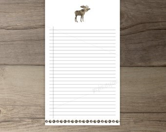 Moose Notepad • Printable To-Do list •Moose todo list notepad organizer • gift • Woodland Watercolor •leaves • printable