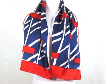 Vintage 100% Silk Long Scarf Navy Red White Geometric Pattern Handrolled  Hems Oblong Made in Japan Baar & Beards