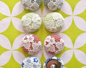 Fabric Covered Button Earrings / Set of 4 / Lace / Wholesale Jewelry / Handmade Earrings / Bridesmaid Gift / Neutral Colors / Bulk / Wedding