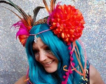 Red and orange pom pom flower fascinator headdress - fairylove