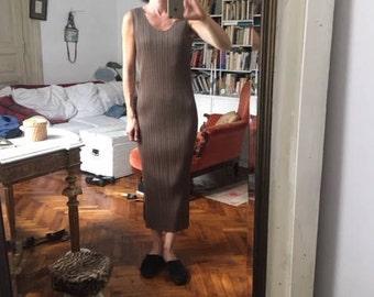 RESERVED Size 3 Pleats Please khaki maxi dress / Issey Miyake