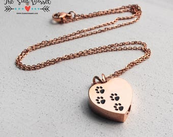 Personalized Pet Cremation Urn Pendant | Rose Gold Paw Print Cremation Jewelry | Cremation Urn Necklace | Memorial, Pet, Jewelry for Ashes